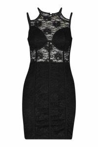 Womens Lace Cupped Mini Bodycon Dress - black - 14, Black