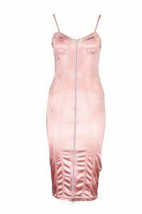Womens Stretch Satin Corset Detail Midi Dress - pink - 16, Pink