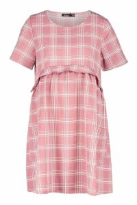 Womens Gingham Smock Dress - pink - 16, Pink