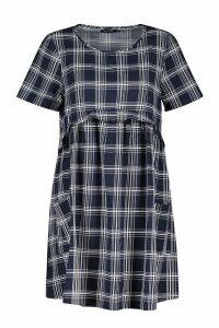 Womens Gingham Smock Dress - navy - 14, Navy