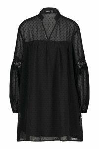 Womens Dobby Lace Trim Smock Dress - black - 16, Black
