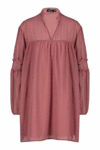 Womens Dobby Lace Trim Smock Dress - dusty rose - 12, Dusty Rose