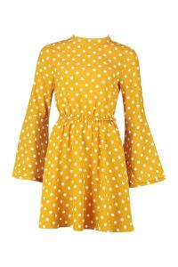 Womens High Neck Polka Dot Open Back Skater Dress - yellow - 16, Yellow