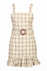 Womens Check Belted Pinafore Dress - beige - 16, Beige