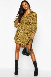 Womens Leopard Print Oversized Dipped Hem Shirt Dress - yellow - 12, Yellow