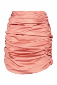 Womens Satin Ruched Mini Skirt - pink - 16, Pink