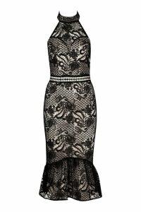 Womens Lace Halterneck Fishtail Midi Dress - black - 16, Black