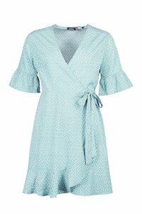 Womens Ditsy Heart Print Tea Dress - blue - 16, Blue