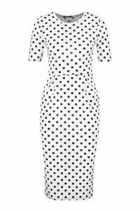 Womens Spot Print Tailored Midi Dress - white - 12, White