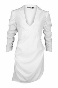 Womens Ruched Fitted Shirt Style Dress - white - 14, White