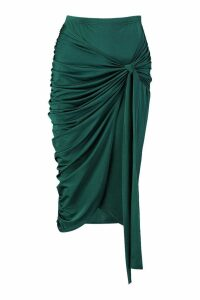 Womens Slinky Wrap Tie Ruched Midi Skirt - green - 12, Green