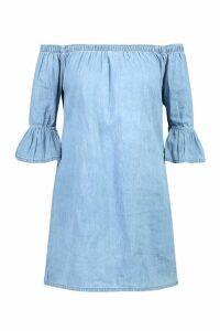Womens Chambray Smock Dress - Blue - 14, Blue