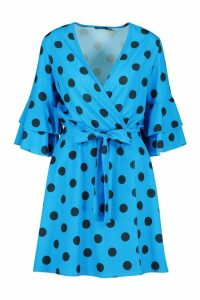 Womens Polka Dot Ruffle Sleeve Wrap Skater Dress - blue - 16, Blue