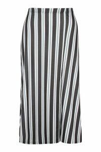 Womens Slit Front Striped Midi Skirt - grey - 14, Grey