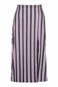 Womens Slit Front Striped Midi Skirt - red - 14, Red