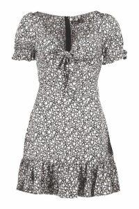 Womens Ditsy Floral Print Tie Front Mini Dress - black - 16, Black