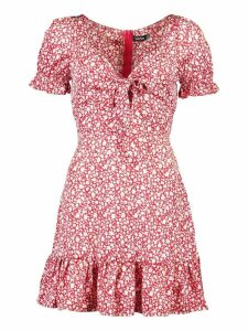 Womens Ditsy Floral Print Tie Front Mini Dress - red - 14, Red