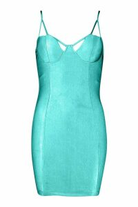 Womens Strappy Cupped Mini Bodycon Dress - blue - 14, Blue
