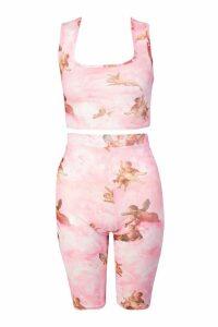 Womens Cherub Print Mesh Bralet & Cycle Short Co-Ord - Pink - 8, Pink