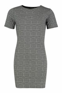 Womens Check Shift Dress - black - 14, Black