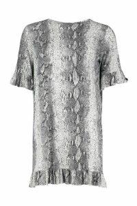 Womens Snake Print Ruffle Detail Jersey Shift Dress - grey - 14, Grey
