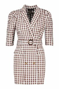 Womens Gingham Belted Blazer Dress - brown - 14, Brown
