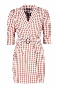 Womens Gingham Belted Blazer Dress - Brown - 14, Brown