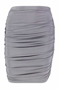 Womens All Over Ruched Mini Skirt - Green - 14, Green