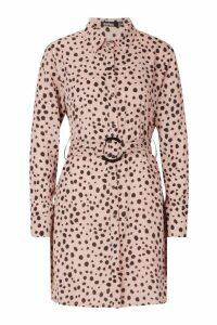 Womens Dalmatian Spot Belted Shirt Skater Dress - pink - 16, Pink