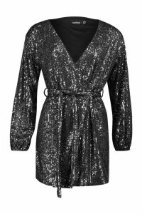 Womens Petite Belted Balloon Sleeve Sequin Dress - black - 12, Black