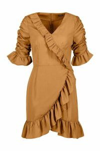 Womens Woven Extreme Ruffle Tea Dress - beige - 12, Beige