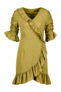 Womens Woven Extreme Ruffle Tea Dress - green - 14, Green