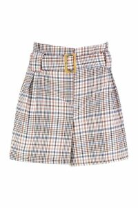 Womens Tonal Check Tailored Shorts - brown - 16, Brown