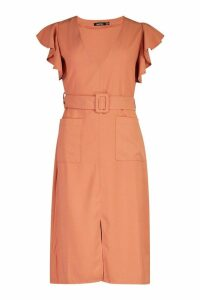 Womens Flared Sleeved Belted Midi Dress - pink - 16, Pink