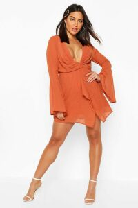 Womens Dobby Plunge Front Flared Sleeve Shift Dress - orange - 12, Orange