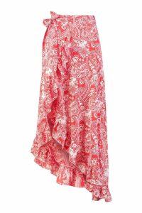 Womens Paisley Bohemian Wrap Ruffle Maxi Skirt - red - 14, Red