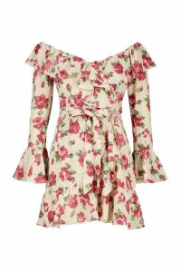 Womens Woven Rose Print Ruffle Mini Dress - beige - 14, Beige