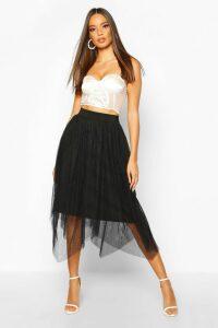 Womens Tulle Midi Skirt - black - 16, Black