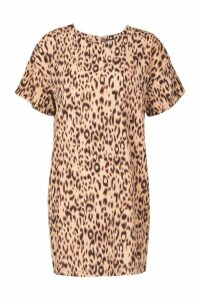 Womens Animal Print Shift Dress - beige - 12, Beige
