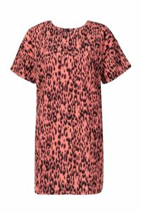 Womens Animal Print Shift Dress - pink - 16, Pink
