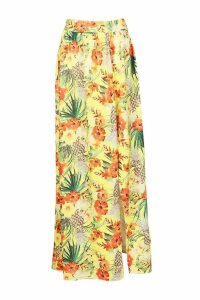 Womens Tropical Tie Front & Split Front Maxi Co-Ord - yellow - 12, Yellow