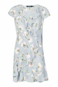 Womens Woven Floral Ruffle Tea Dress - grey - 10, Grey