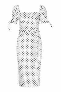 Womens Polka Dot Belted Midi Dress - white - 14, White