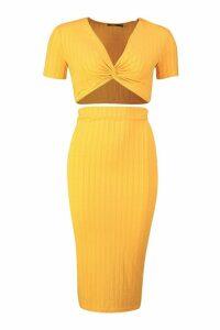 Womens Recycled Rib Twist Detail Crop Midi Skirt Co-ord - honey - 12, Honey