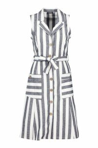 Womens Linen Stripe Pocket Button Through Midi Dress - blue - 10, Blue