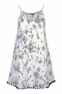 Womens Tie Dye Pom Pom Swing Dress - grey - 10, Grey