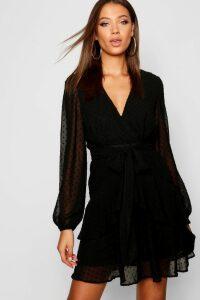 Womens Tall Ruffle Hem Chiffon Mini Dress - black - 14, Black
