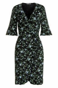 Womens Tall Floral Wrap Dress - black - 8, Black
