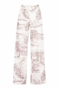 Womens All Over Printed Belted High Waist Trouser - beige - 14, Beige