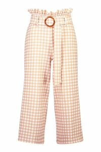 Womens Tonal Gingham Check Paperbag Culottes - Beige - 14, Beige